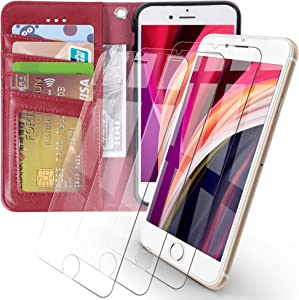Arae iPhone 7 / iPhone 8 / iPhone SE 2020 Premium PU Leather Flip Cover Wallet Case (Wine Red) with 3 Pack Ultra-Thin HD Tempered Glass Screen Protectors, 4.7 inch