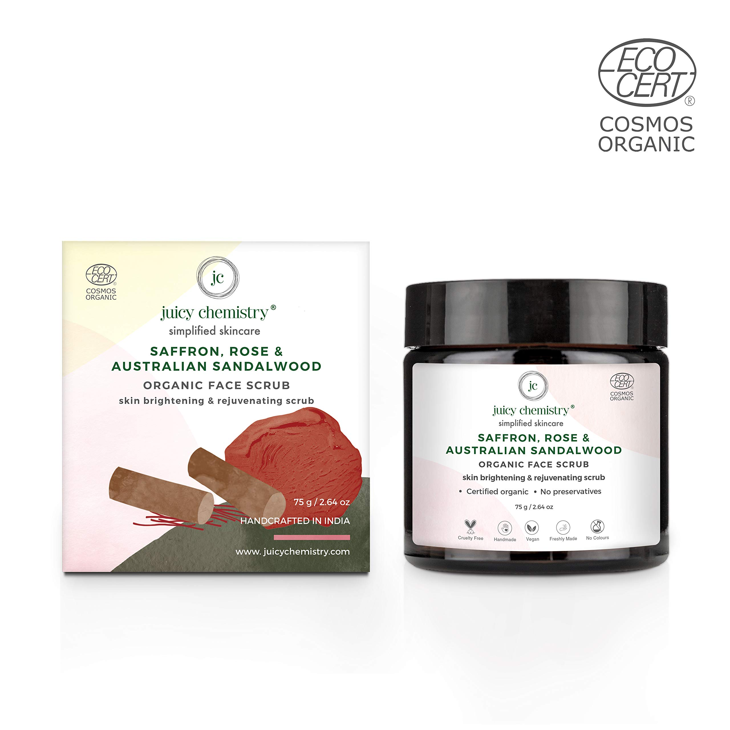 Juicy Chemistry Organic Rose- Saffron & French Pink Clay Face & Body Polish(75gm)