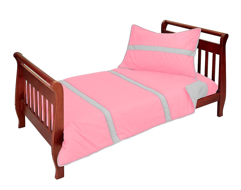 B000L1HLQY Baby Doll Solid Stripe 4 Piece Toddler Bedding Set, Pink/Grey 81dzODcvOML