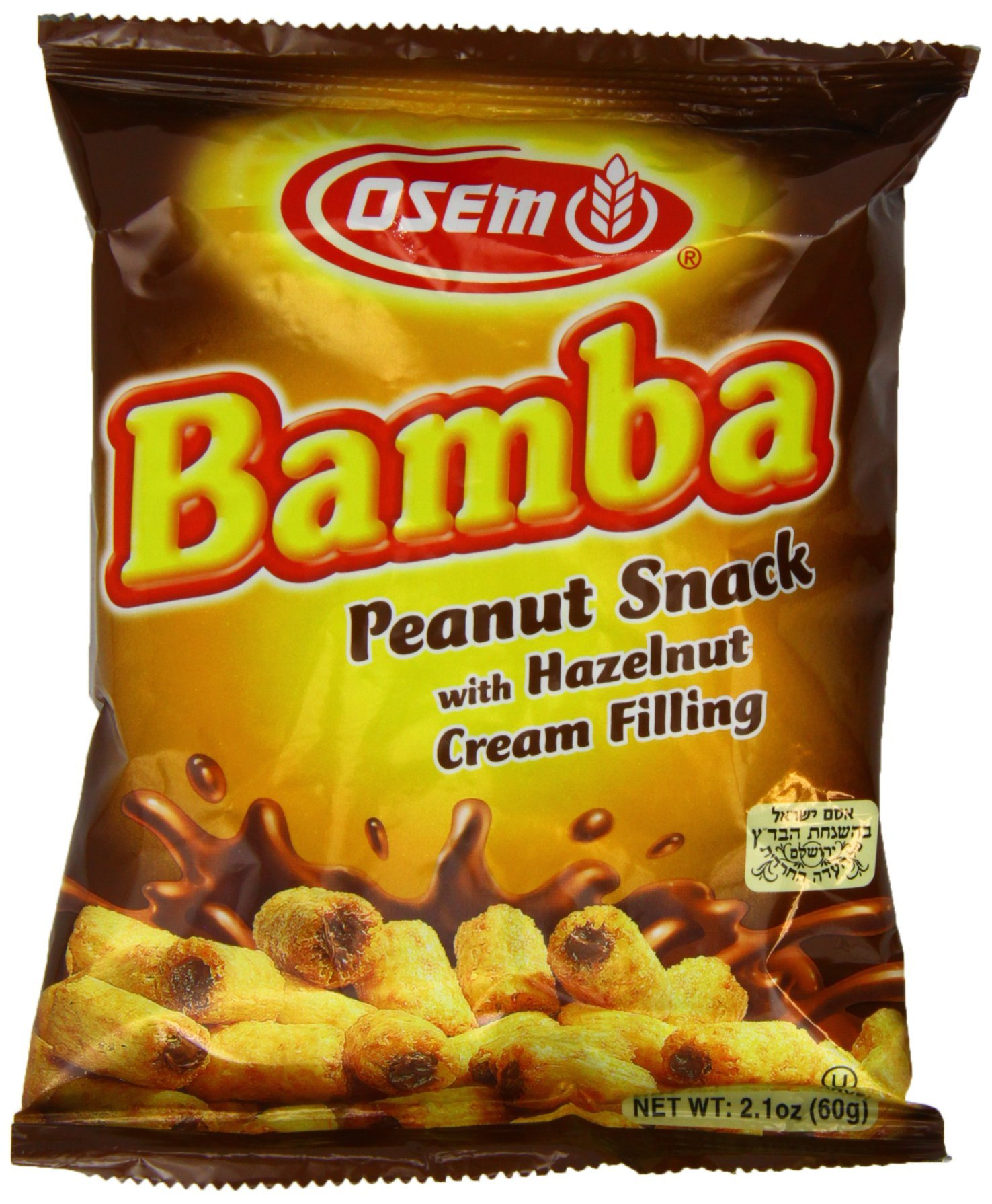 Bamba Hazelnut Cream Peanut Butter Snacks All Natural Peanut Butter PB Corn Puffs, 2.1oz Bag (Pack of 3)
