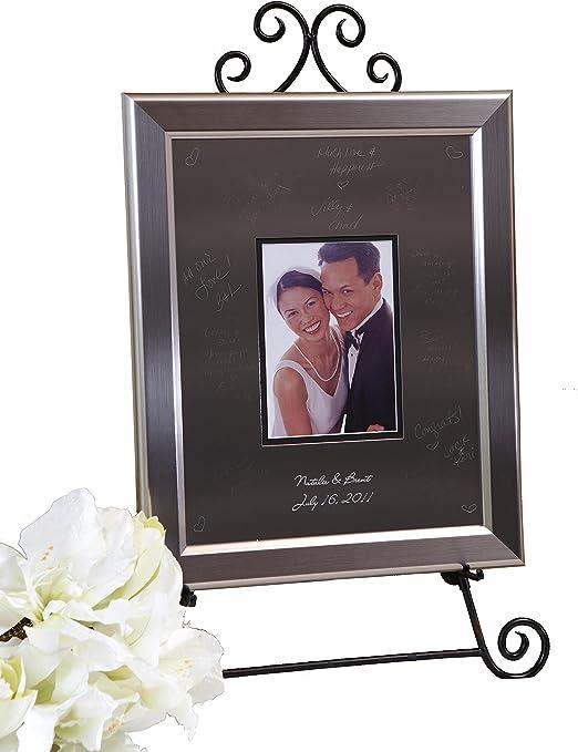 Signature Keepsakes Frame Engravable Signature Mat Guest Book Small Silver//Titanium F1114BW220966