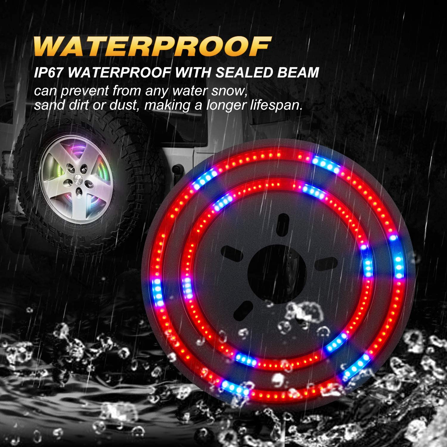 Jeep Wrangler JL//JLU Newest Double Ring RGB 14 LED Rear Wheel Lights Spare Tire Brake Light Compatible with 2007-2018 Jeep Wrangler JK /& 2018