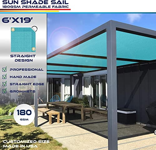 Windscreen4less Straight Edge Sun Shade Sail,Rectangle Outdoor Shade Cloth Pergola Cover UV Block Fabric 180GSM – Custom Size Turquoise Green 6 X 19