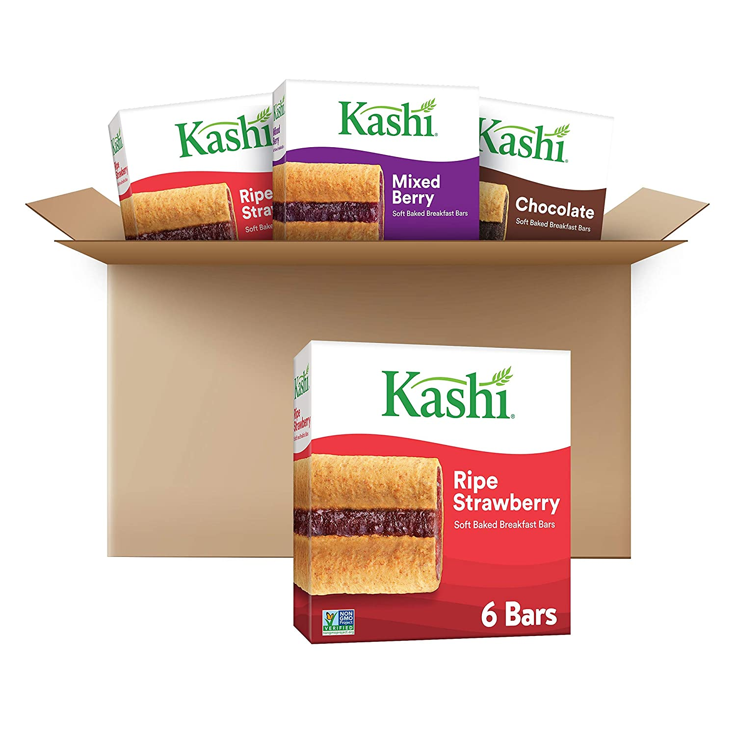 Kashi, Soft Baked Breakfast Bars, Variety Pack, Vegan, 2- Ripe Strawberry, 1 - Mixed Berry, and 1 Chocolate bars(4 boxes, 24 bars)