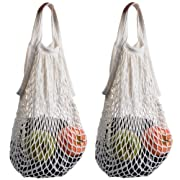 STONCEL Pack of 2 Cotton Net Shopping Tote Ecology Market String Bag Organizer (White)
