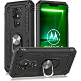 for Moto G7 Power Military Grade Drop Impact Case 360 Metal Rotating Ring Kickstand Holder Magnetic Car Mount Armor Shockproof Cover for Moto G7 Power Phone Protection Case