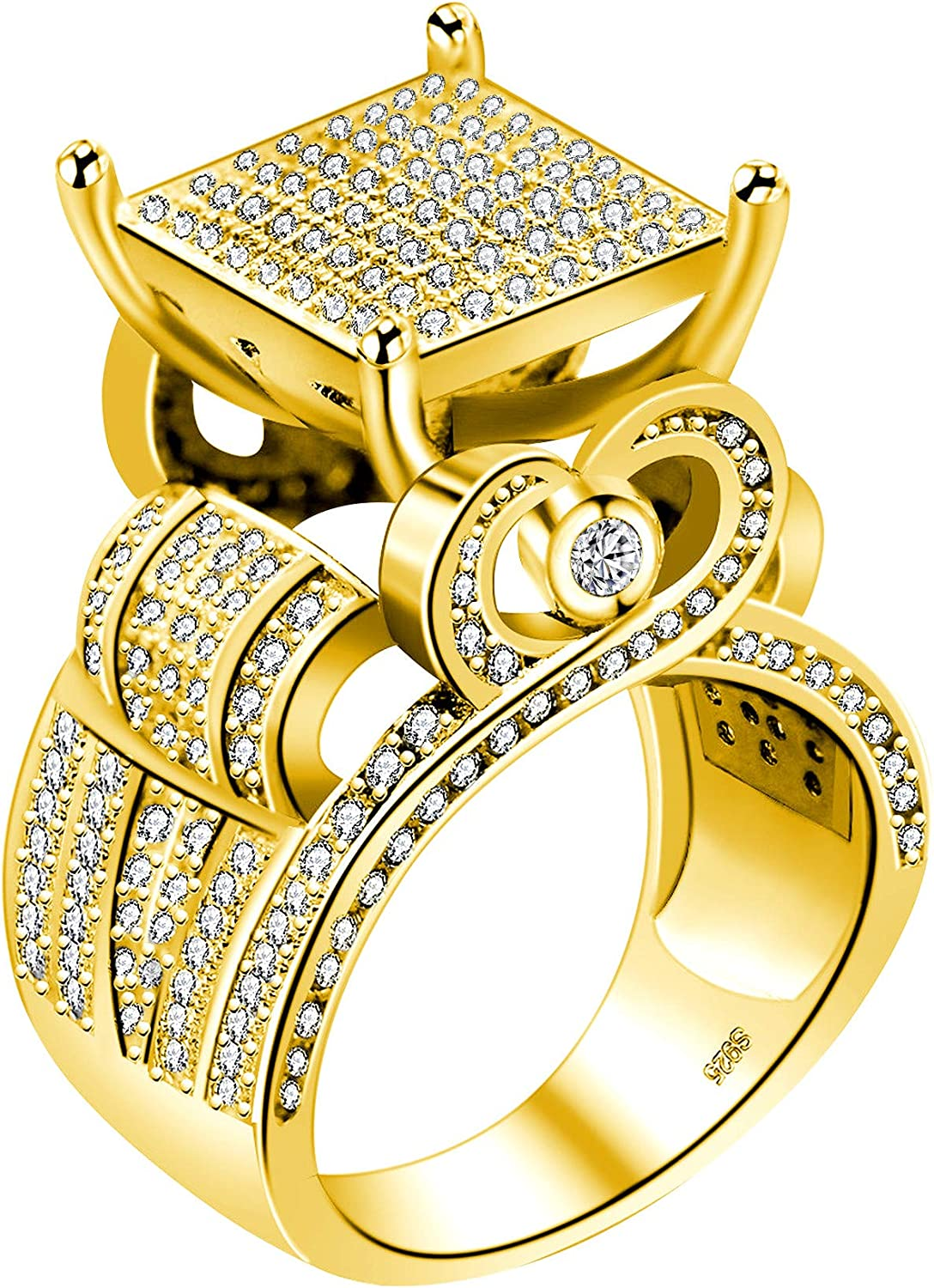 """Uloveido Women's 0.4"""" Wide Square Cluster Engagement Heart Architecture Ring, Cocktail Bling Ring for Girls RA0221"""