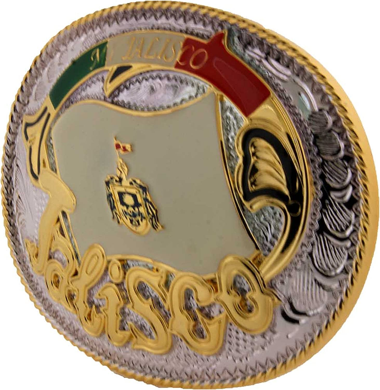 State Mexico Hecho en Mi Jalisco Belt Buckle Western Aztec Cowboy Rodeo Men Big