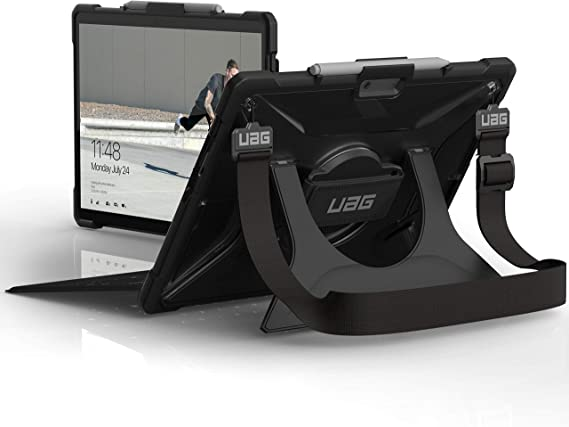 URBAN ARMOR GEAR UAG Microsoft Surface Pro X with Hand Strap & Shoulder Strap Plasma Feather-Light Rugged [Ice] Military Drop Tested Case