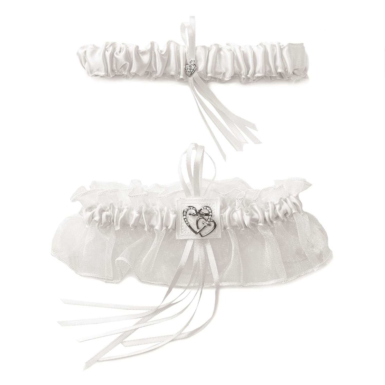 Weddingstar Classic Double Heart Two Piece Bridal Garter Set, White Weddingstar Inc. 7203