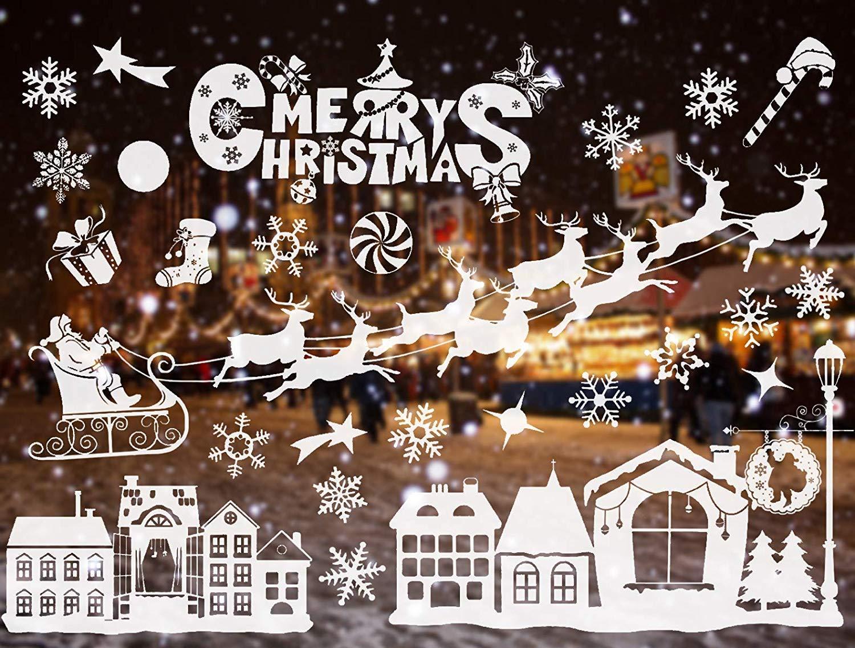 Sinwind Sticker Noë l Mural Dé coration Noë l Fenê tre Vitrine Magasin Verre Mur Autocollant Merry Christmas Pè re Noë l Sapin 55x38cmx2 (style 6)