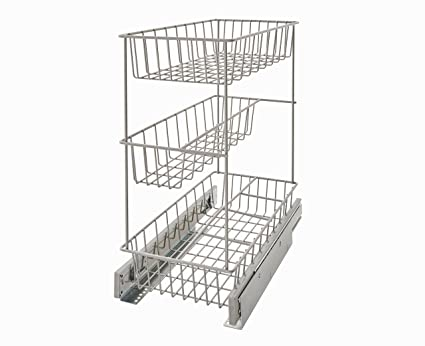 ClosetMaid 32105 Premium 8.75u0026quot; Wide Three Tier Compact Kitchen Cabinet  Pull Out Basket, Three