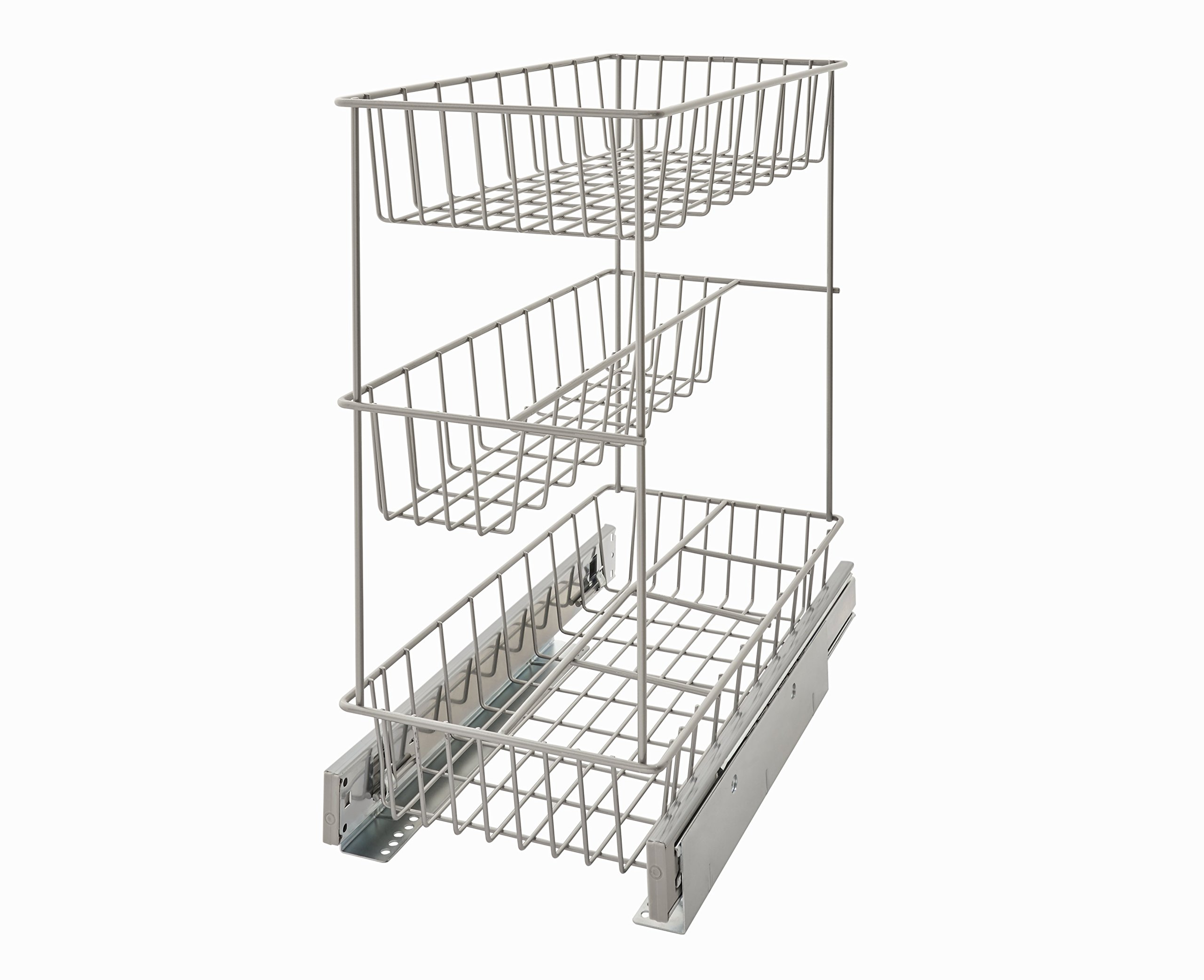 ClosetMaid 32105 Premium 8.75'' Wide Three Tier Compact Kitchen Cabinet Pull Out Basket, Three-Basket Narrow