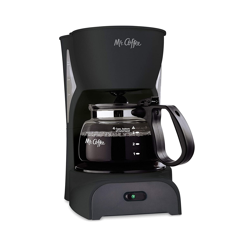 Mr. Coffee Simple Brew Coffee Maker 4 Cup Coffee Machine Drip Coffee Maker, Black