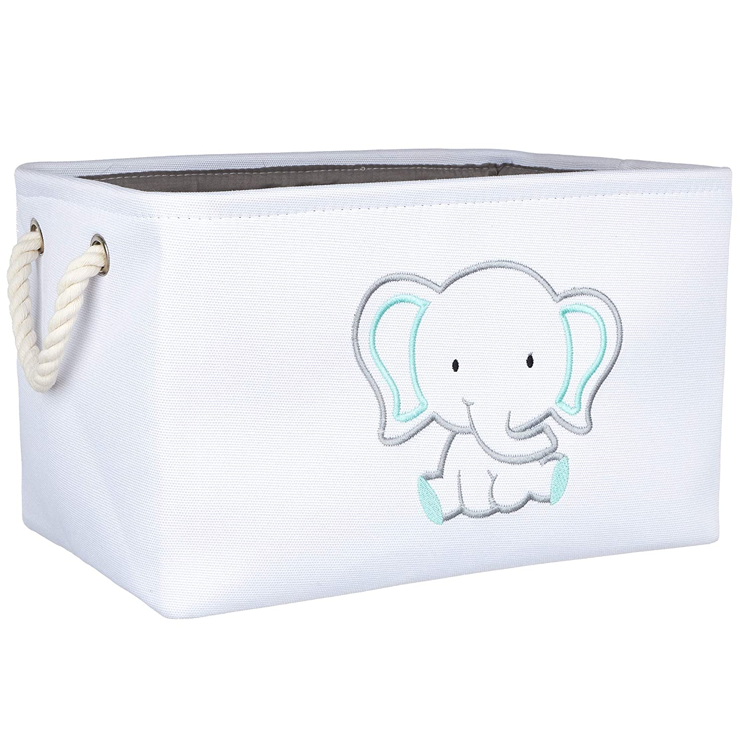 APPLE PIE ORDER Storage Basket with Embroidery, Foldable Animal Toy Storage Bins/Cube/Box/Organizer for Kids, Boys and Girls Room, Baby & Nursery. (Elephant)