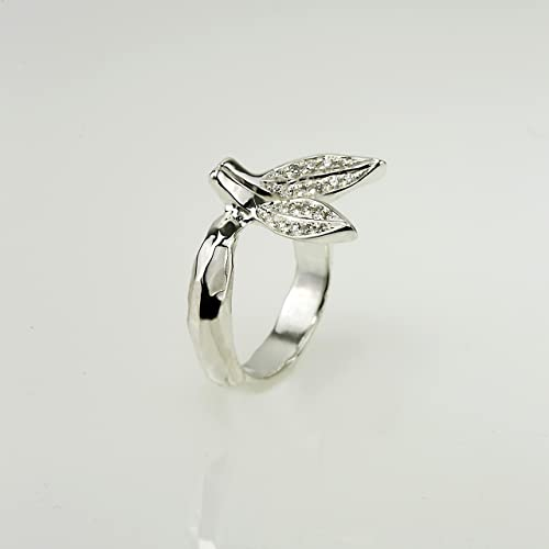 Leaf Engagement Ring Wedding Band Pave Diamond Leaves Promise