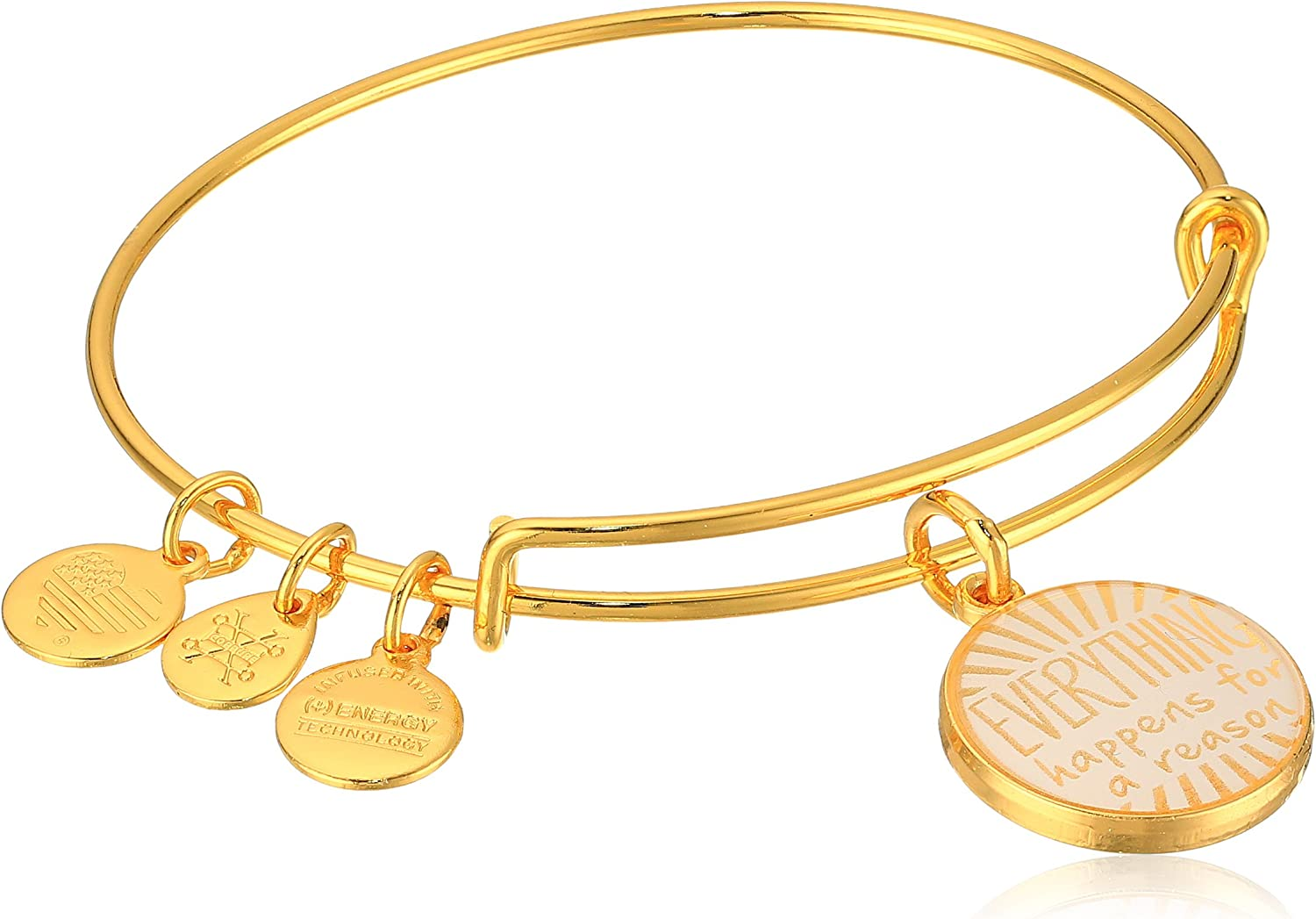 Alex Ani Words Are Powerful Everything Happens A Reason Ii Bangle Size Expandable Color Expandable Shiny Gold