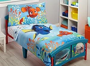 Disney Finding Dory 4 Piece Toddler Bedding Set, Blue/Orange/Yellow