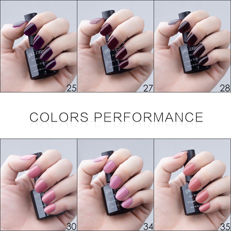 Amazon.com : Gellen UV Gel Shiny Nail Polish Multi-color 10 ml Each ...