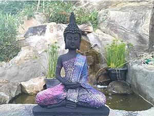 Estátua Buda Hindu Prosperidade Meditando Colorido + Incenso