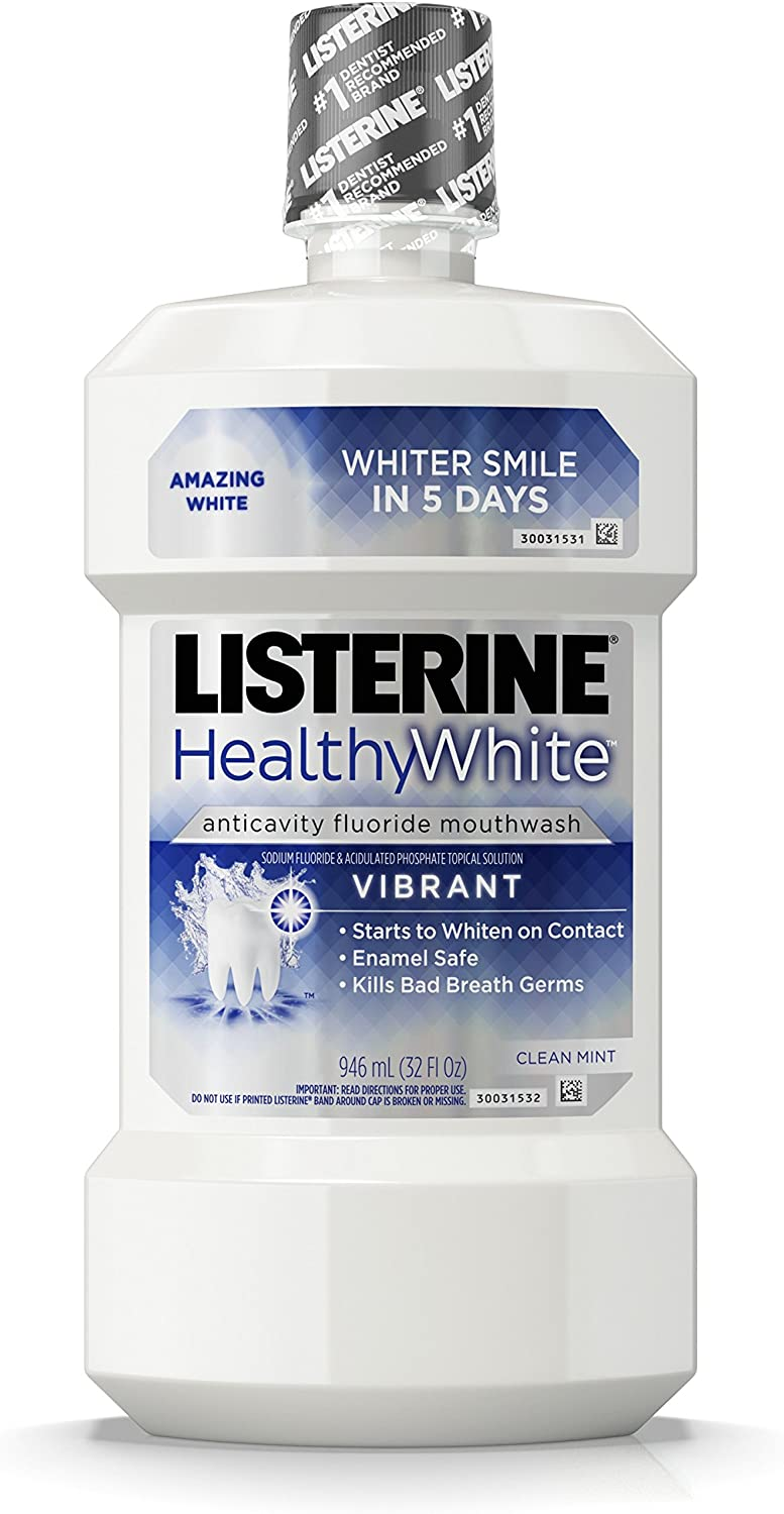 Listerine Healthy White Anticavity Mouthrinse, 32 oz (Pack of 4)