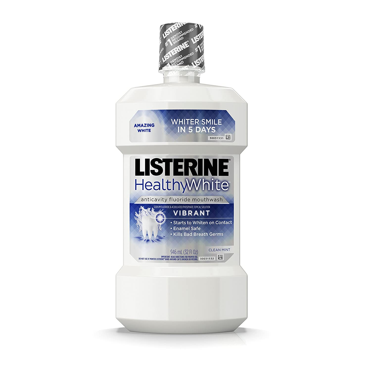 Listerine Healthy White Anticavity Mouthrinse, 32 oz (Pack of 3)
