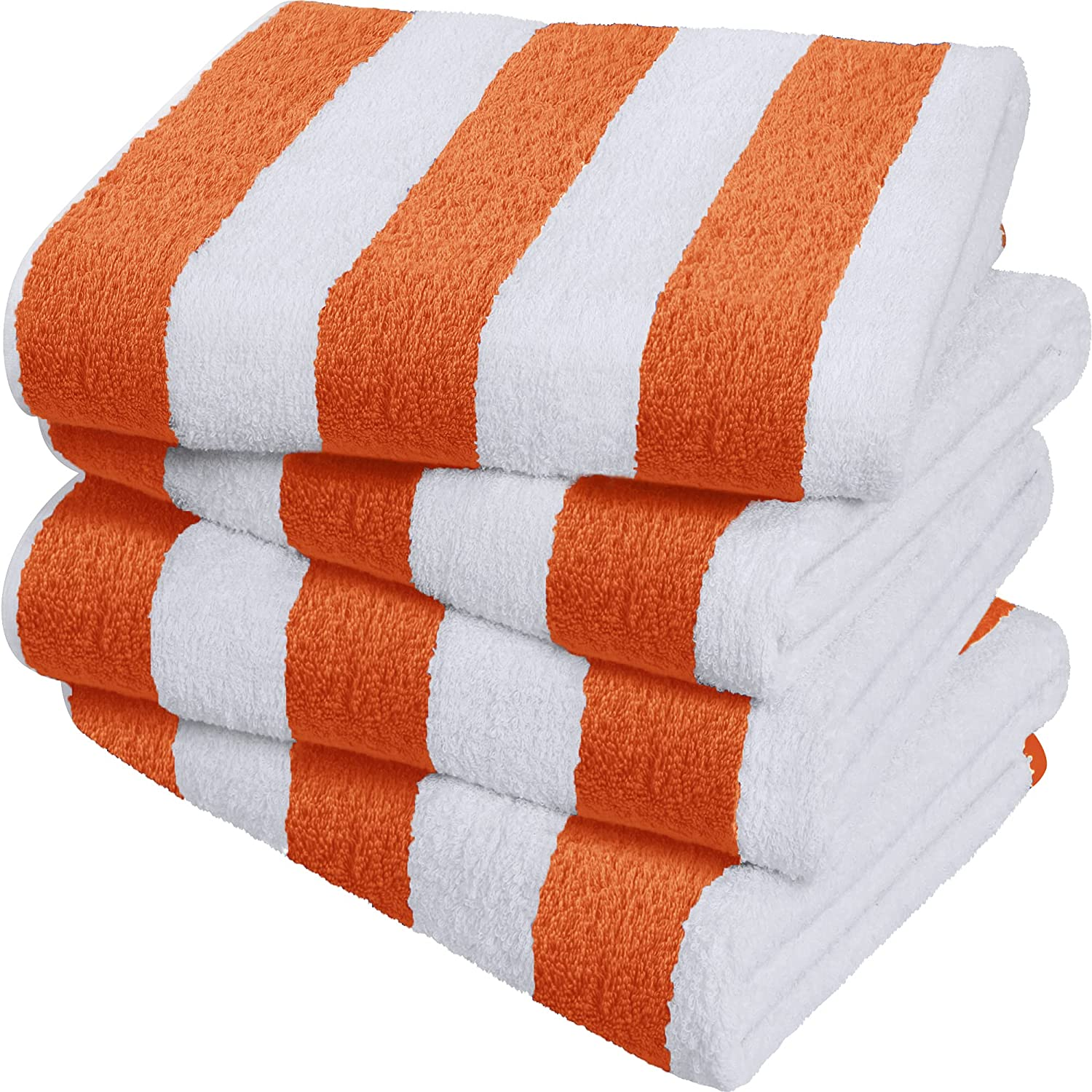 Utopia Towels Cabana Stripe Beach Towels, Orange, (30 x 60 Inches) - 100% Ring Spun Cotton Large Pool Towels, Soft and Quick Dry Swim Towels (Pack of 4)