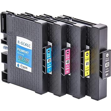 4x Cartuchos de tinta compatibles con chip para Ricoh GC 41 , por ...