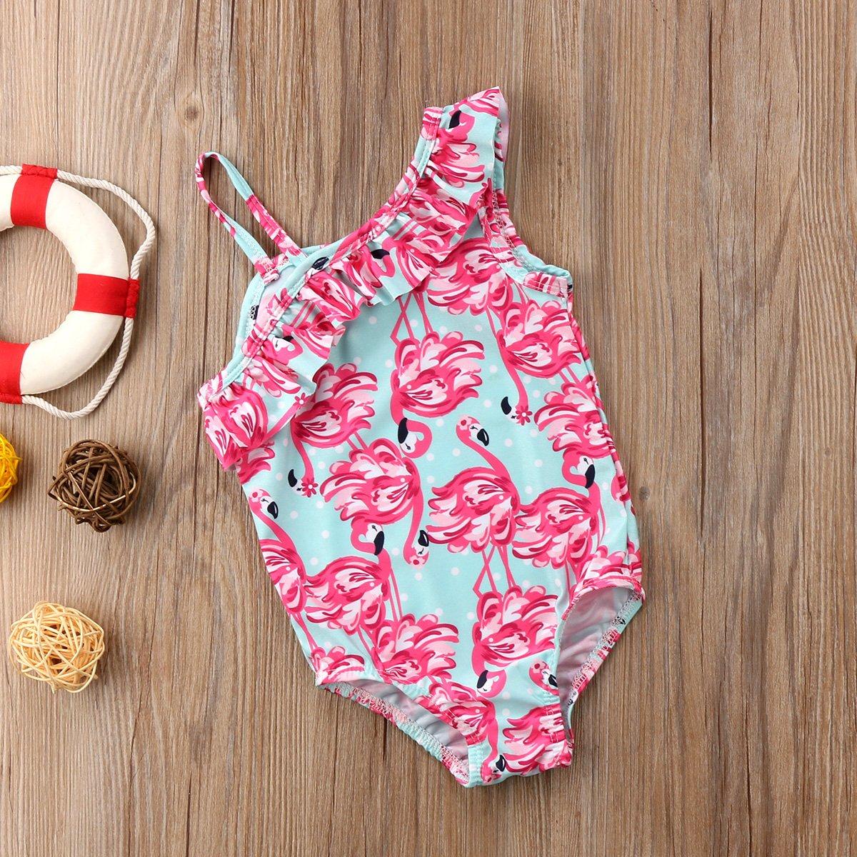 Amazon.com: Niños bebé niñas un hombro Flamingo volantes ...