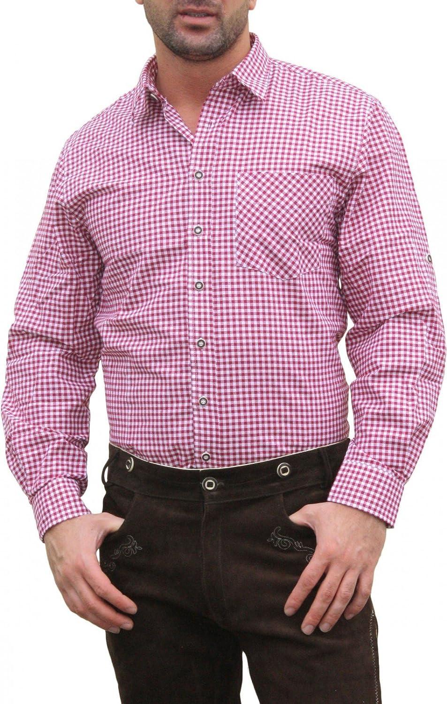 Trachtenhemd für Lederhosen mit Verzierung weinrot/kariert