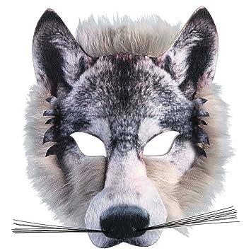Adulto infantil REALISTA artificial de Lobo Máscara Pack Animal Jungla Hombre Lobo Disfraz de Carnaval Máscara: Amazon.es: Juguetes y juegos