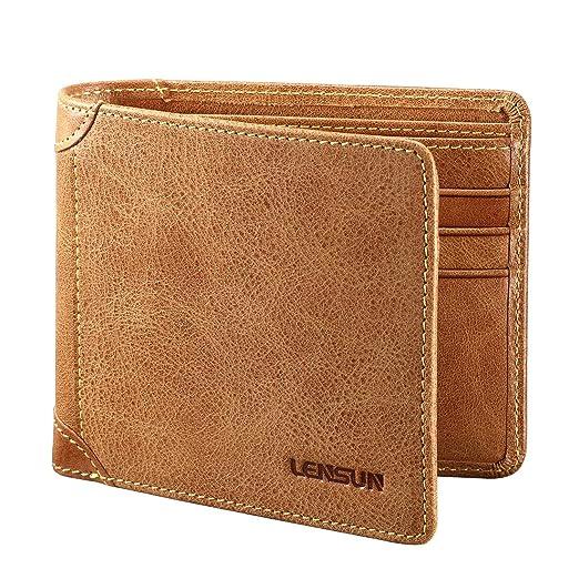 17 opinioni per Portafoglio uomo, Lensun vera pelle di vitello borsa portafoglio per gli uomini,