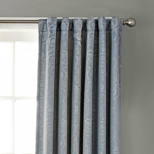 BEAUTYREST Blackout Curtains for Bedroom-Avignon 52 x 108 Insulated Darkening Single Panel-Rod Pocket Window Treatment Living Room, Smokey Blue