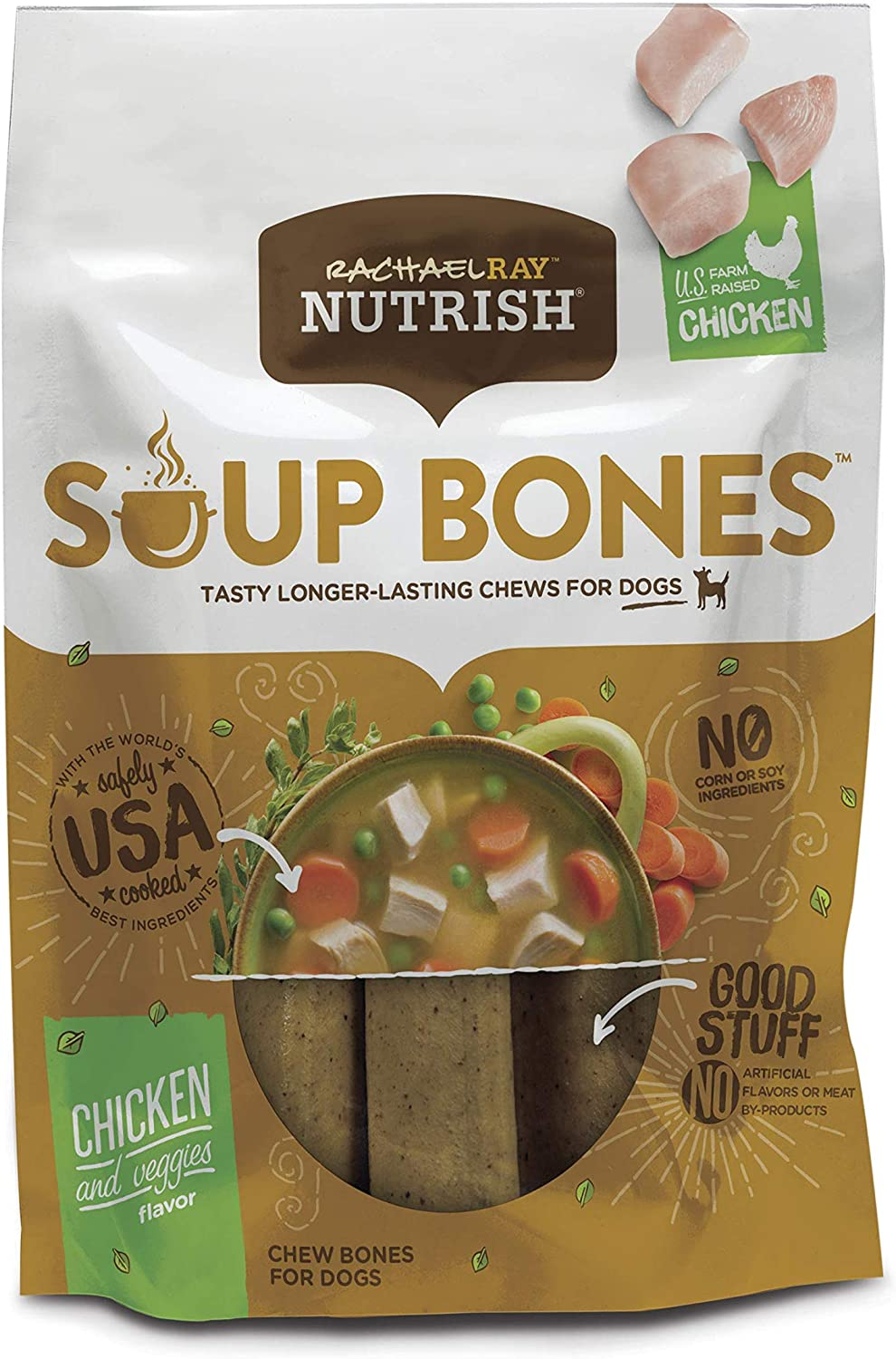 Rachael Ray Nutrish Soup Bones Longer Lasting Dog Treat Chews