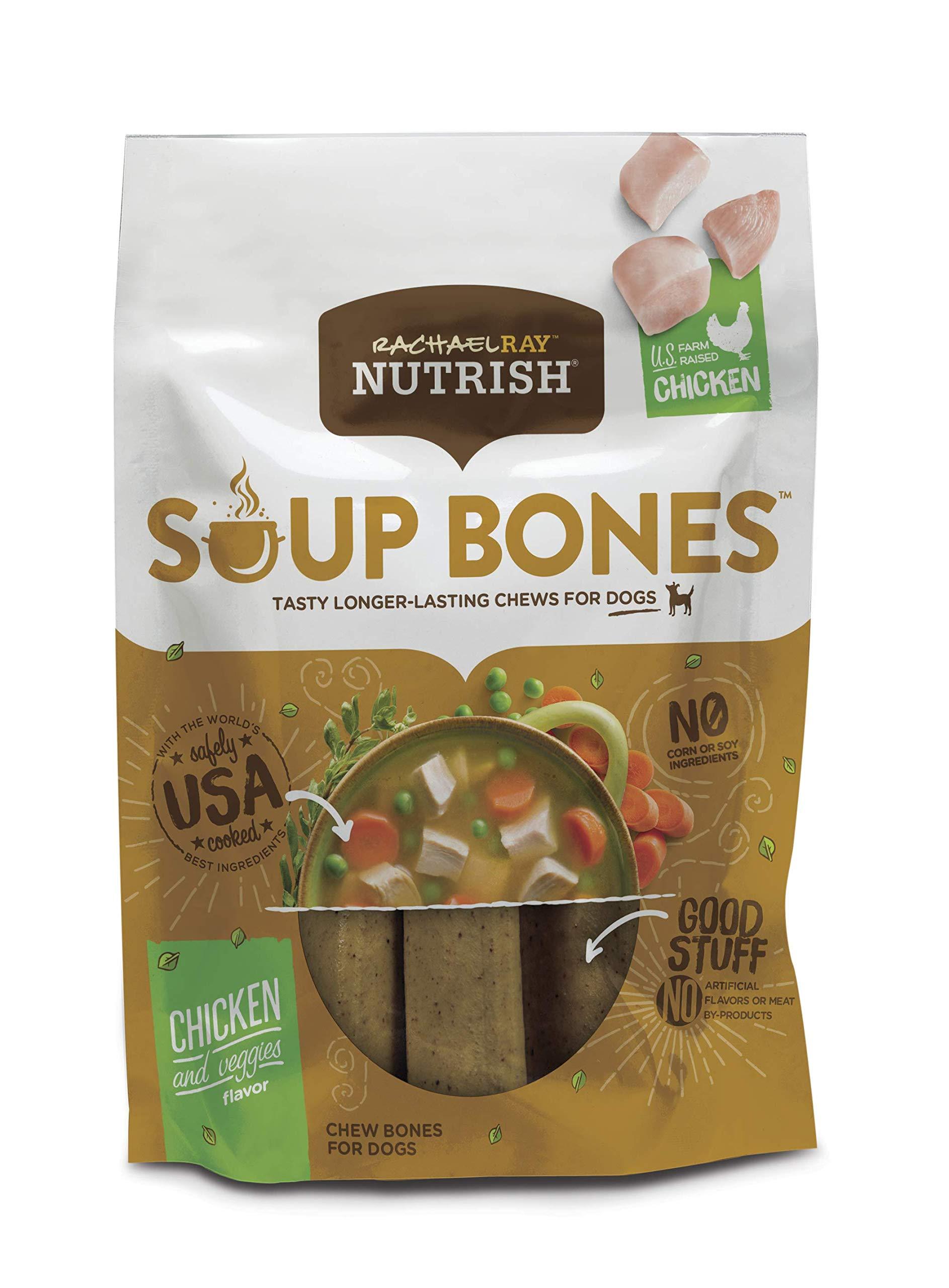 Rachael Ray Nutrish Soup Bones Dog Treats, Real Chicken & Veggies Flavor, 6.3 Oz. Bag (Pack Of 8)