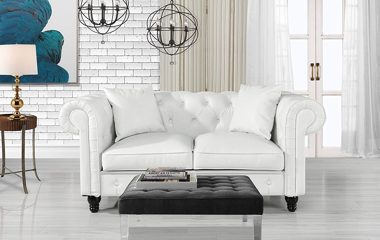 Amazon.com: DIVANO ROMA FURNITURE Classic Living Room Bonded ...
