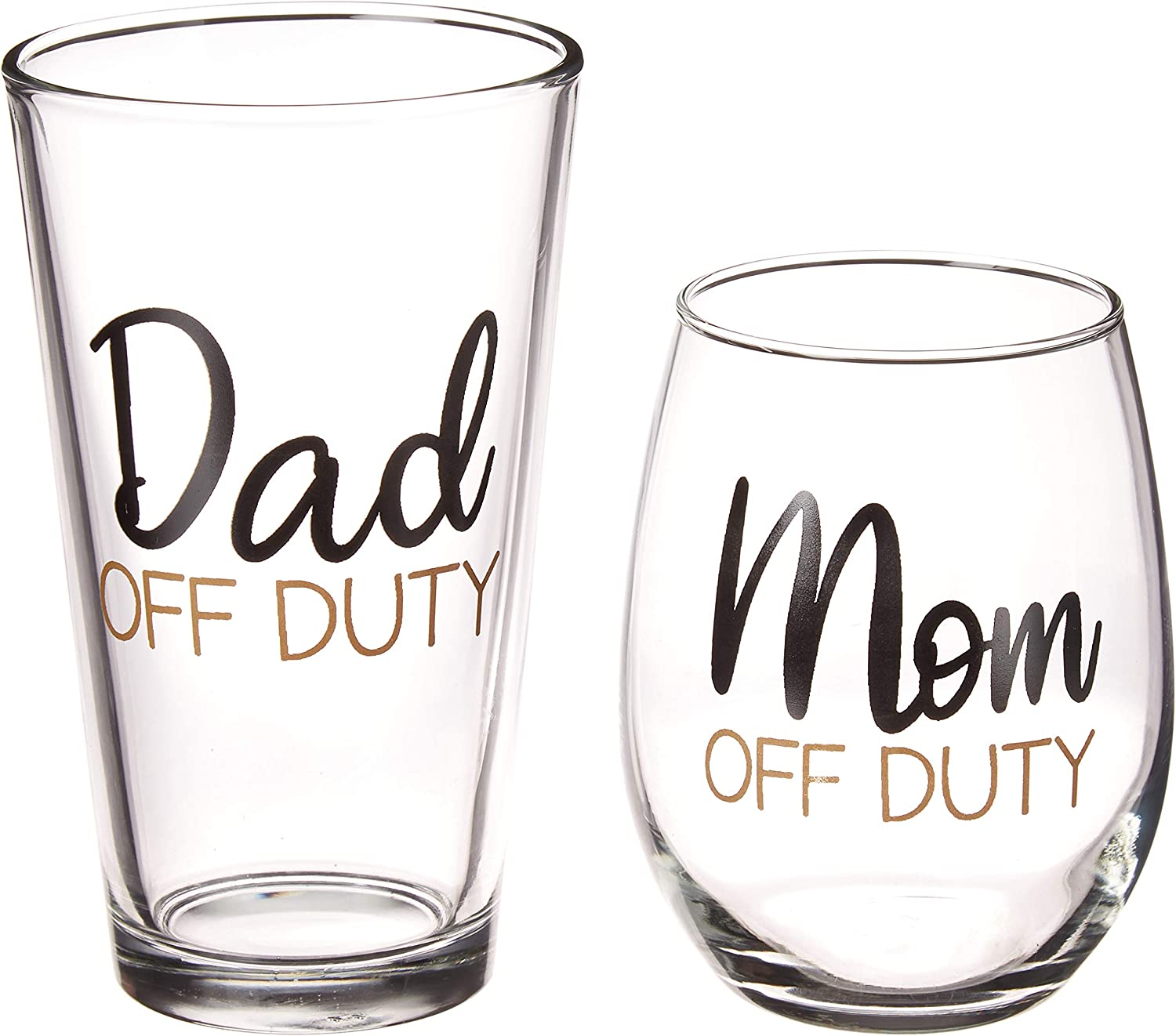 Mom and Dad Off Duty Gift Set - 15 oz Stemless Wine Glass and 16 oz Pint Glass - Perfect Funny Gift For New Parents