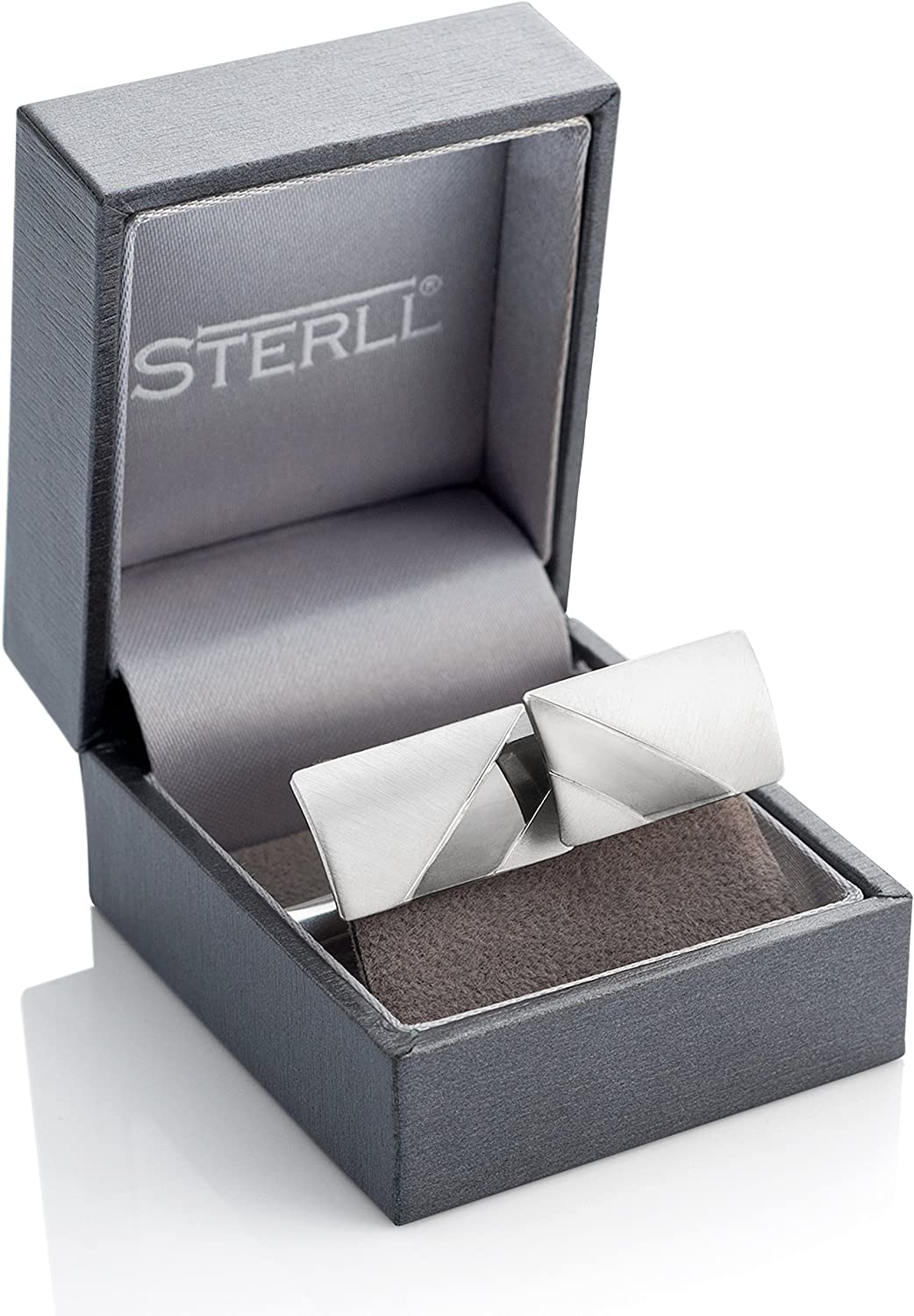 STERLL man Cufflinks Wedding Sterling Silver Brushed With an Oxidized Stripe Jewelry Case