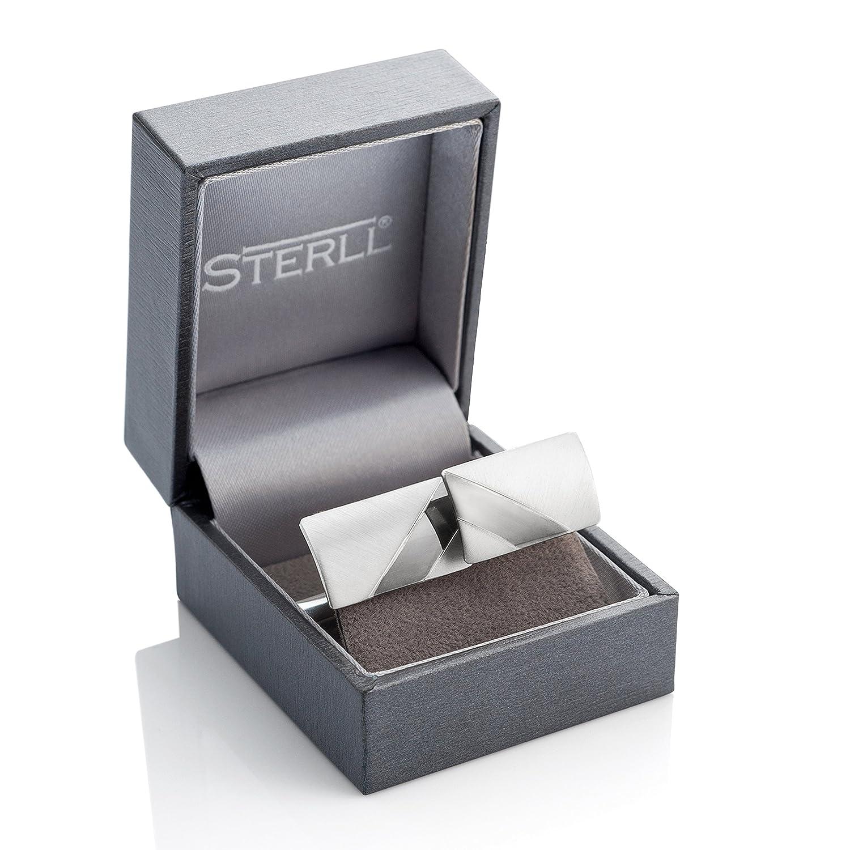 con custodia ossidata a righe Sterling Gemelli da uomo in argento Sterling 925 spazzolato
