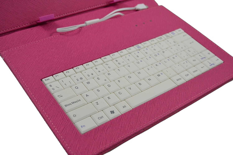 Rosa Fucsia incluye letra /Ñ Archos Arnova // Titanium 10.1 Funda con teclado extra/íble para tablet en espa/ñol Teclado Blanco