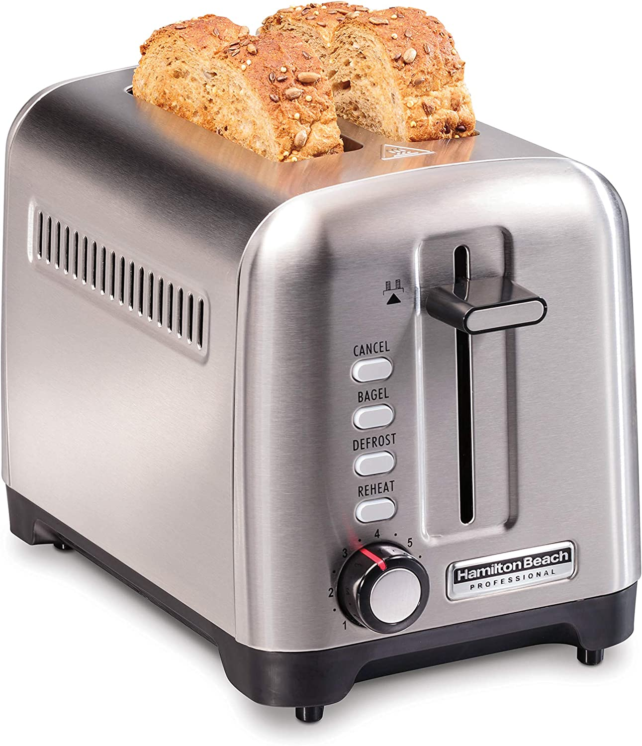 Hamilton Beach Professional 2 Slice Toaster, with Bagel, Defrost & Reheat Settings, Stainless Steel (22990)