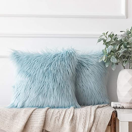 12x20 Kevin Textile Decorative New Luxury Series Merino Fluffy Style Fur Oblong Throw Pillow Case Rectangle Cushion Cover Set of 2 Grey