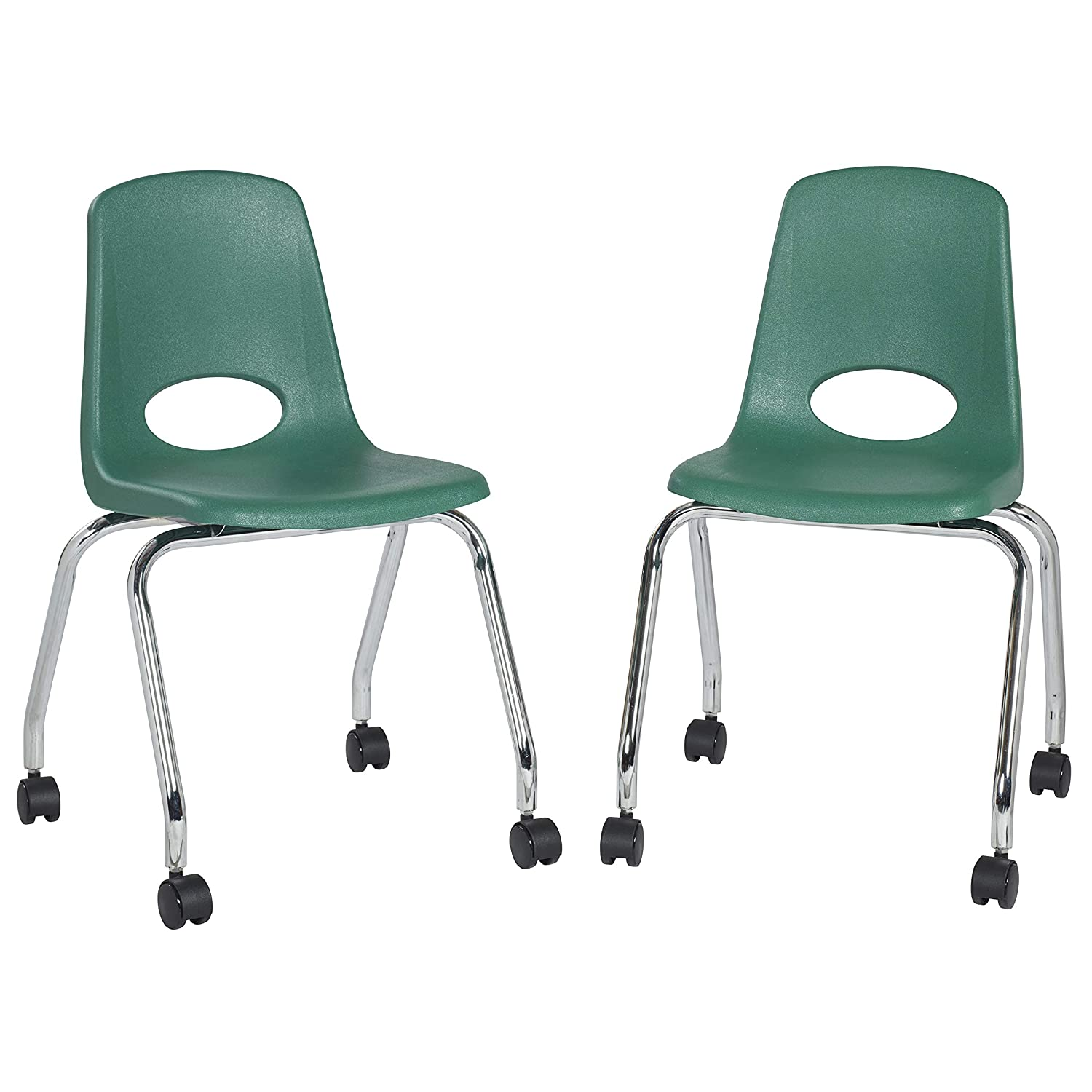 "Factory Direct Partners 18"" Mobile School Chair with Wheels for Kids, Teens and Adults; Ergonomic Seat for in-Home Learning, Classroom or Office - Green (2-Pack) (10372-GN)"