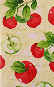 """Orchard Apples Vinyl Flannel Back Tablecloth (60"""" Round)"""