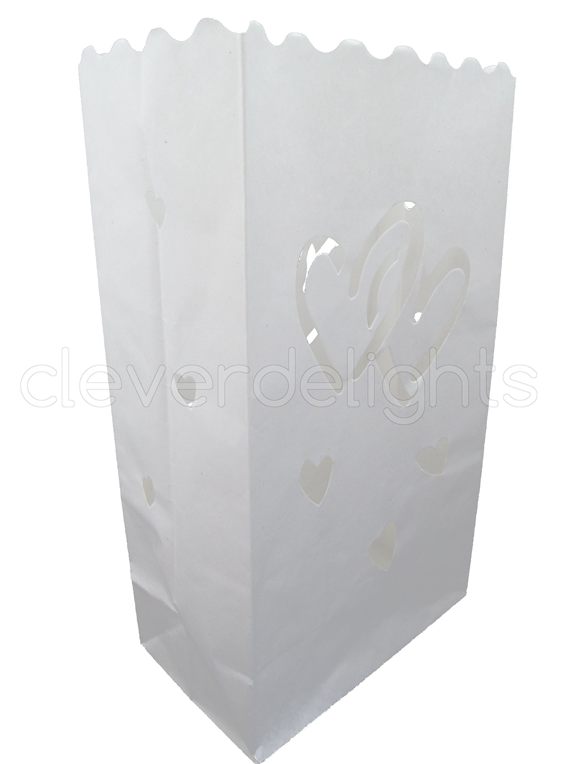 CleverDelights White Luminary Bags - 50 Count - Interlocking Hearts Design - Wedding, Reception, Party and Event Decor - Flame Resistant Paper - Luminaria
