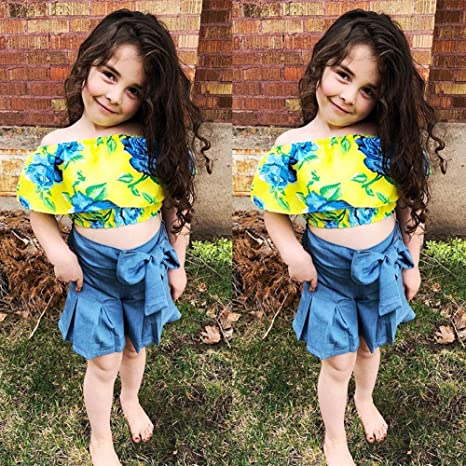 c40e8f48b468 Amazon.com: 2Pcs Toddler Baby Girls Summer Clotthes Floral Off-Shoulder Crop  Tops+Bowknot Shorts Skirt Outfits Set: Clothing
