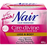 Nair Cire Divine Microwave Resin Wax for Legs & Body with Japanese Cherry Blossom and Rice Bran Oil, 400-g