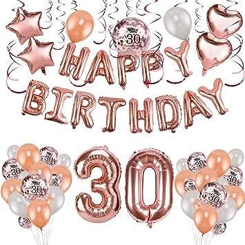 Konsait 59pack Rose Gold 30th Birthday Decorations for Women Girls 30 Birthday Party Supplies| Happy Birthday Balloon Banner Rose Gold Hanging Swirls ...
