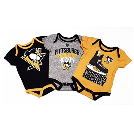 a28587e8409e9a Pittsburgh Penguins NHL Baby Hat Trick 3-pc Creeper Set - 0-3Months ...