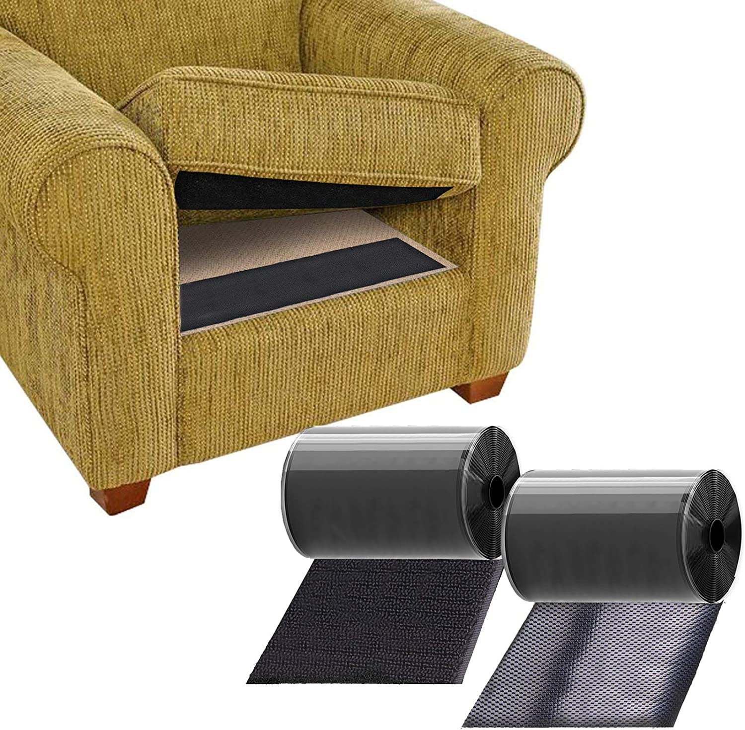 TEUVO Couch Cushion Non Slip Pads to Keep Couch Cushions from Sliding, Premium Hook and Loop Tape with Adhesive for Smooth Surfaces, 11cm Wide and 1M Long